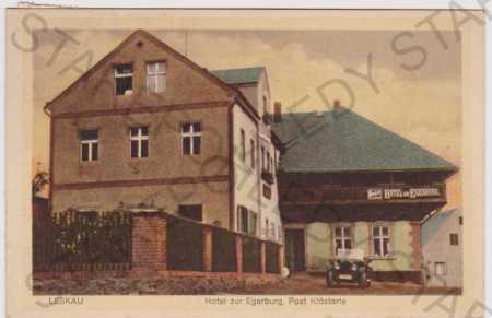 Leská (Leskau) - Hotel zur Egerburg, auto, kolorov