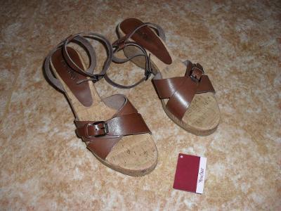 Letní KOŽENÉ sandály na klínku, vel. 41 - NOVÉ