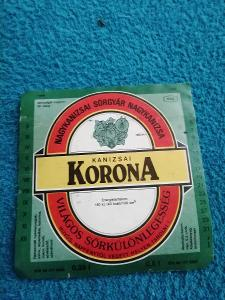 Korona pivní etiketa