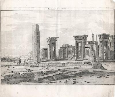 Persepolis Iran, mědiryt, 1718