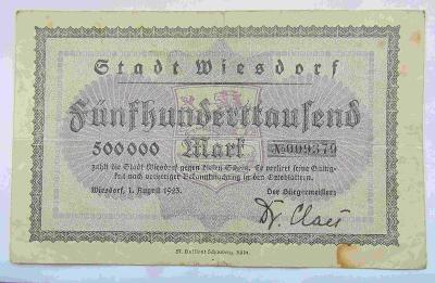 Německo Wiesdorf 500 000 Mark 1923
