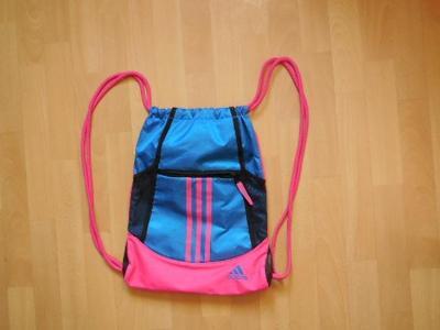 Adidas modrorůžový batoh vak nápis  kapsa