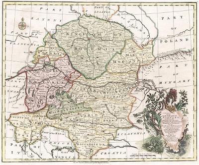Čechy Rakousko, Bowen,  kolor. mědiryt, 1747