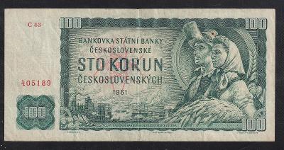 100 KORUNA 1961 VZÁCNÁ SÉRIE C - ZACHOVALÁ