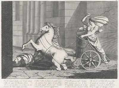 Vozatajka, mědiryt, (1800)