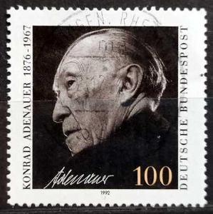 BUNDESPOST: MiNr.1601 Konrad Adenauer 100pf 1992