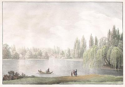 Laxenburg park, Jacob Alt, kolor. litografie, 1826