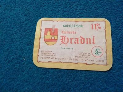 Světlý ležák hradní chebské etiketa
