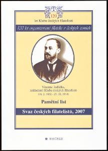 ČR - PAMĚTNÍ LIST 120 LET KLUBU ČESKÝCH FILATELISTŮ, 2007 (S1239)