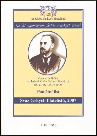 ČR - PAMĚTNÍ LIST 120 LET KLUBU ČESKÝCH FILATELISTŮ, 2007 (S1239) - Filatelie