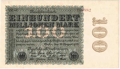 100 MILLION MARK, 1923, série GC, nádherná bankovka, TOP STAV UNC !!!