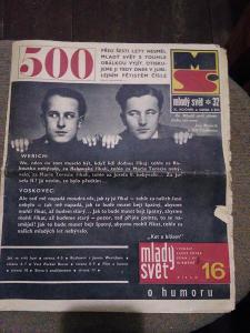Starý časopis Mladý svět, 500 sté vydání,9 srpen 1968, Werich,Voskovec