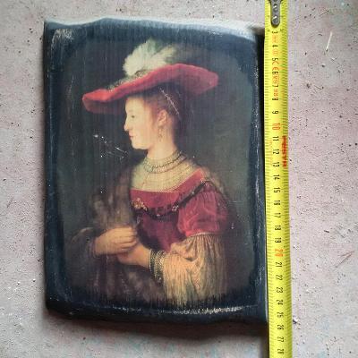 Obraz na dřevě, kopie Rembrandta, od korunky