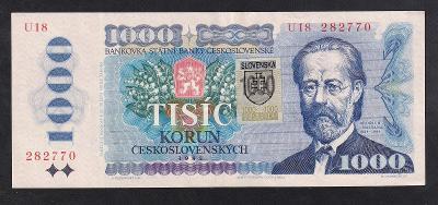 VZÁCNÁ 1000 KORUNA 1985 SÉRIE U SE SLOVENSKÝM KOLKEM - NEPATRNÝ PŘEHYB