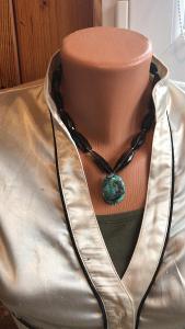 Masivní stříbrný náhrdelník záhněda a tyrkys s řetízkem 925/1000