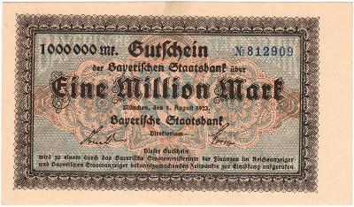 1 MILLION MARK, 1923, No.812909, vzácná bankovka, TOP STAV UNC !!!