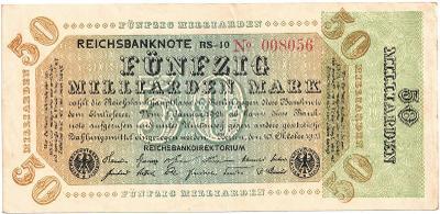 50 MILLIARD MARK, 1923, série RS!!, vzácná bankovka, STAV 1+ !!!