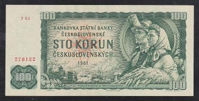VZÁCNÁ 100 KORUNA 1961 VZÁCNÁ SÉRIE T - aUNC!