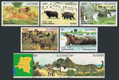 Zair (Kongo) 1982 Mi.779-5 30€ Park Virunga, fauna Afriky, lvi, sloni