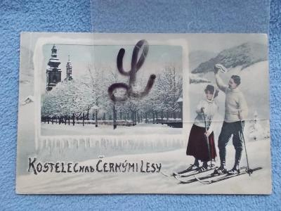 Praha východ Kostelec nad Černými lesy zimní koláž postavy lyžaři