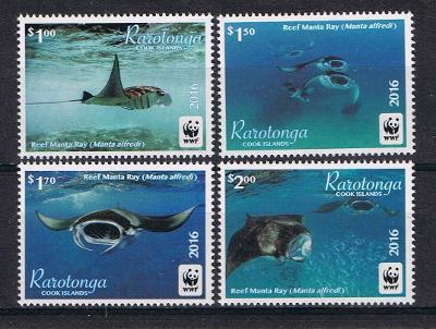 Rarotonga 2016 Mi.50-3 8€ Ostrovní ryby, manta, fauna moří, WWF