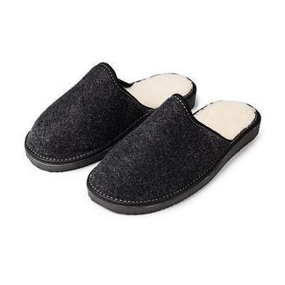 Vlnka Pánské filcové papuče s ovčí vlnou černá 41