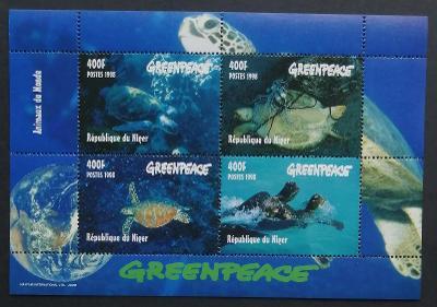 Niger 1998 Mi.1472-5 10€ Karety, želvy, plazi, fauna moří, GREENPEACE