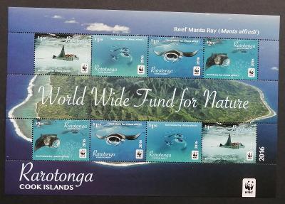 Rarotonga 2016 Mi.54-7 16€ ARŠÍK - Ostrovní ryby, manta, fauna moří
