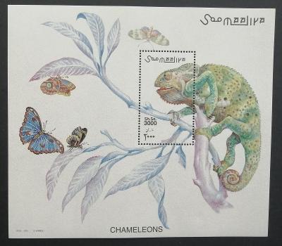 Somálsko 2001 Bl.78 13€ Chameleoni, motýli, hmyz a plazi, fauna