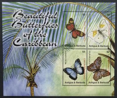 Antigua & Barbuda 2007 Mi.4466-9 6,5€ Motýli ostrovů, okrasný hmyz