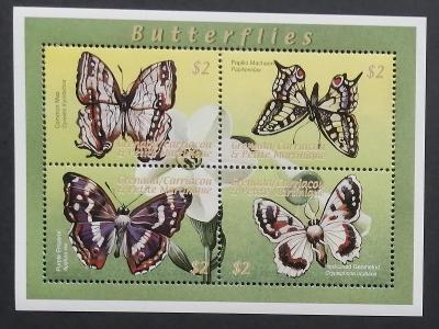 Grenadiny & Grenada 2000 Mi.3231-4 9€ Karibští motýli, hmyz