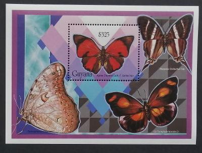 Guyana 1994 Bl.423 9€ Motýli Jižní Ameriky, hmyz