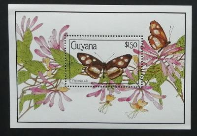 Guyana 1990 Bl.102 12€ Motýli Jižní Ameriky, hmyz