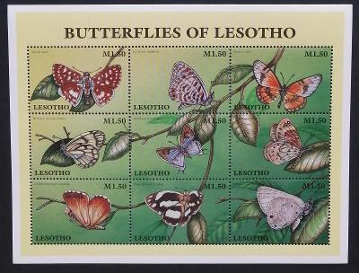 Lesotho 1997 Mi.1219-7 7,5€ Motýli Jižní Afriky, hmyz