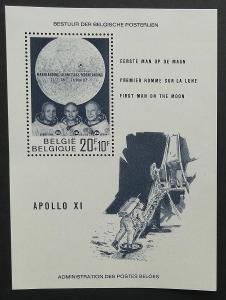 Belgie 1969 Bl.40 2,5€ Přistání na Měsíci, vesmír a kosmos, Apollo 11