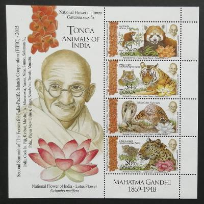Tonga 2016 Bl.100 23€ Pandy, tygři, hadi, summit Indie, Gándí