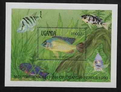 Uganda 1991 Bl.128 9€ Africké ryby, fauna moří