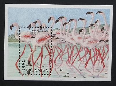 Uganda 1990 Bl.120 7,5€ Afričtí ptáci, plameňáci, fauna
