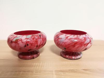 Starožitné sklo - váza / miska / květináč - sada 2ks