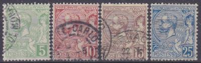 MONACO - MONAKO - ALBERT I - 1901 Mi.: 22-25 - ražené