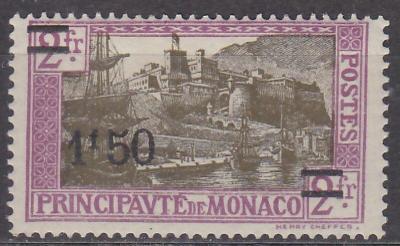 MONACO - MONAKO - KRAJINKY PŘETISK - 1927 Mi.: 114 - *nálepka*