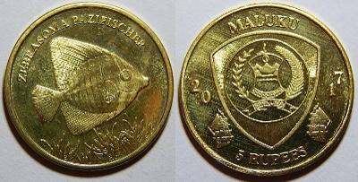 Maluku 5 Rupees 2017 Zebrasoma Pazifischer UNC č27474