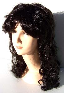 Paruka dlouhé vlasy černé s lokny (24)