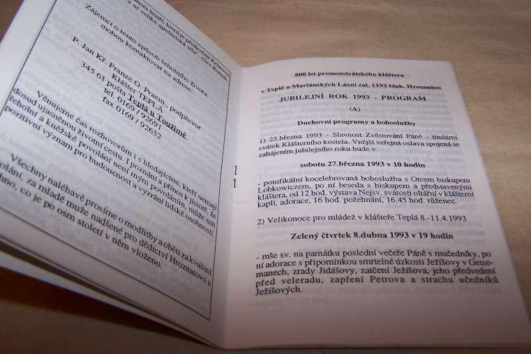 TEPLÁ U MARIÁNSKÝCH LÁZNÍ 800 LET KANONIE PREMONSTRÁTŮ 1990/93/B166/ - Knihy