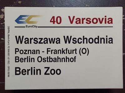 Směrová cedule DB - EC 40 VARSOVIA