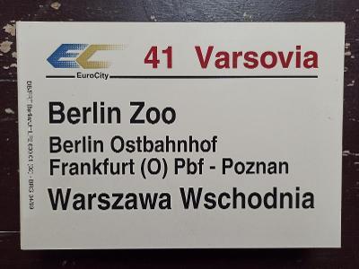 Směrová cedule DB - EC 41 VARSOVIA