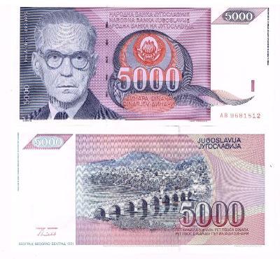 Jugoslávie 5000 dinara UNC / N Ivo Andric