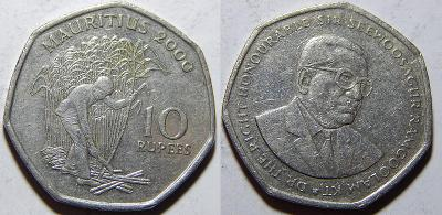Mauritius 10 Rupees 2000 VF č12163