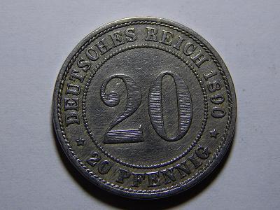 Německo Císařství 20 Pfennig 1890A XF-UNC č25259
