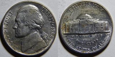 USA 5 Cents 1988D VF-XF č11419